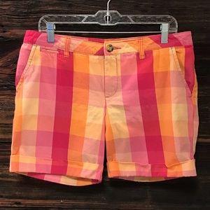 Faded Glory Shorts Bright Plaid Cotton Chinos SZ10
